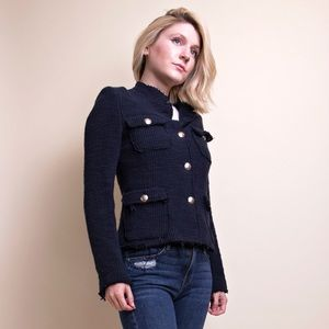 Zara navy blue raw hem knit blazer jacket